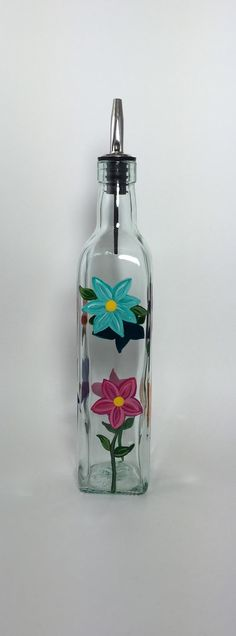 SOLD  Glass Olive Oil or Soap Dispenser with Hand by KitchenBarHomeDecor