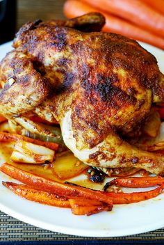 Roasted cornish hen and vegetables (carrots, sweet potatoes, onions). Gluten free recipe