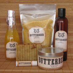 Butterbeer Harry Potter Themed Spa Gift Set - Bath Salt, Soy Candle, Soap, Bubble Bath, Lotion and Lip Balm by CherryPitCrafts on Etsy