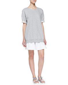 Nalcia Short-Sleeve Sweatshirt Dress W/ Rolled Cuffs, Women's, Size: 0, Light Heather - Theory