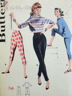1950s Butterick shirt, pants, and pedal pusher sewing patterns