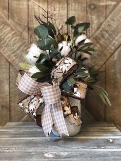 image 0 Christmas Door Wreaths, Rustic Christmas, Christmas Gifts, Rustic Decor, Farmhouse Decor, Wedding Decor, Rustic Wedding, Fall Arrangements, Decorated Jars
