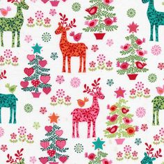 Colourful reindeer and Christmas tree fabric
