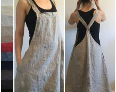 Linen Jumper Dress Apron Dress Overall Dress by MissesCountry Sewing Clothes, Diy Clothes, Ropa Shabby Chic, Japanese Apron, Japanese Sewing, Pinafore Apron, Pinafore Dress Pattern, Diy Fashion, Fashion Outfits