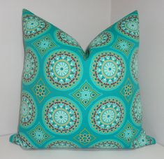 OUTDOOR Turquoise Green Medallion Pillow Covers Outdoor Deck Patio Pillow 18x18