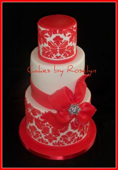red damask by Cakes By Roselyn, via Flickr