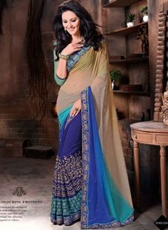 Sensational Blue Georgette Stone Work embroidered Casual Sarees http://www.angelnx.com/Sarees/Party-Wear-Sarees