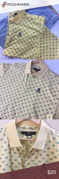 Tiger Woods Golf Shirt for Cuscowilla Gorgeous yellow patterned 100% Cotton Tiger Woods golf shirt with Cuscowillo logo, EUC, has been dry cleaned and ready for tee time Tiger Woods Shirts Polos