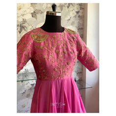 """Intish by Chintya ™️ on Instagram: """"Hot pink asymmetrical gown with gold zardosi detailing✨ . . . #chennaiwedding #gown #zardosi #shoplocal #vocalforlocal #bespokegown…"""" Bespoke, Hot Pink, Dresses With Sleeves, Gowns, Formal Dresses, Long Sleeve, Wedding, Instagram, Fashion"""