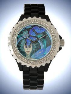 Women's Rhinestone Black Enamel Watch with Art Déco style Fairy & Butterfly Face