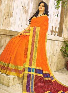 f475511ba Buy Orange Banarasi Printed Khadi Cotton Saree Online Festival Wedding