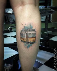 Sketch work style Lisboa tram tattoo on the calf. Car Tattoos, Sleeve Tattoos, Tattoo Portugal, New Orleans Tattoo, Train Tattoo, Art Journal Backgrounds, Sibling Tattoos, Temporary Tattoo Designs, Classy Nails