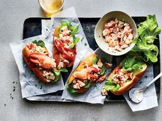 Dressed simply with mayo, our simple lobster salad—made with the knuckle and claw meat—sits in a hot, buttered bun for these Maine Style Lobster Rolls. Get the recipe at Food & Wine. Lobster Roll Recipes, Seafood Recipes, New Recipes, Cooking Recipes, Shellfish Recipes, Recipies, Healthy Recipes, Crab And Lobster, Fish And Seafood