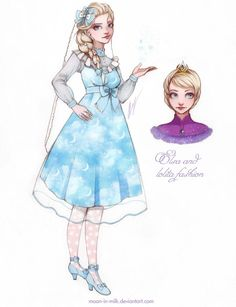 """Elsa's time! When I created her dress, I used the real dresses of brand """"Angelic Pretty"""" for my inspiration. As you see print on this . Elsa and lolita fashion Disney Fan Art, Disney Style, Disney Love, Disney Magic, Disney Frozen, Frozen Cartoon, Disney E Dreamworks, Disney Pixar, Walt Disney"""