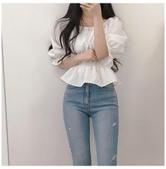Korean Casual Outfits, Korean Outfit Street Styles, Casual Outfits For Teens, Girly Outfits, Pretty Outfits, Stylish Outfits, Korean Girl Fashion, Korean Fashion Trends, Ulzzang Fashion