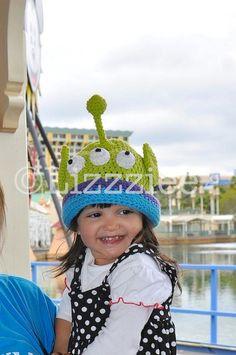 27557e08fc7 Toy Story Hat Pattern - Alien Crochet PDF - cute Disneyland hat - newborn  baby toddler