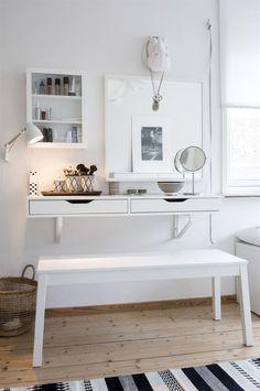 Wall-mounted Ikea 'Alex' drawers & 'Sigurd' bench