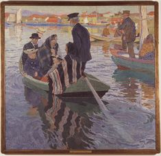 Kyrkfolk - Churhgoers - Painting by Carl Wilhelmsson 1909. You can glimpse Klubban in the backgroud, to the left and behind behind the broadsided, large, red fishingshed, which was later (1905) turned so that its gable faced the water.