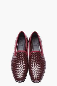 MCQ ALEXANDER MCQUEEN // BURGUNDY LEATHER BASKETWOVEN RAZOR BLADE SLIPPERS. Leather loafer-style slippers in burgundy red. Basketwoven feature throughout exterior. Black leather sole. Tonal stitching. Upper, lining, and sole: 100% leather. Made in Italy.
