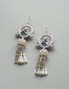 Items similar to Soutache dangle long earrings with tassels, Pink white rose blush gray earrings, Embroidered beaded tender jewelry, Swarovski bridal jewelry on Etsy Embroidery Jewelry, Beaded Embroidery, Shibori, Soutache Earrings, Homemade Jewelry, Blue Pearl, Stylish Jewelry, Artisan Jewelry, Crystal Beads