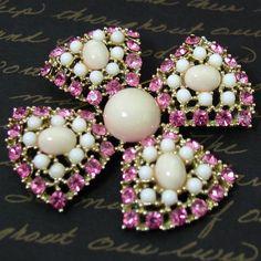 Weiss Pink Rhinestone Maltese Cross Brooch Vintage White Coral. $ 45.00, via Etsy.