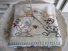 vintage embroidered dish towel