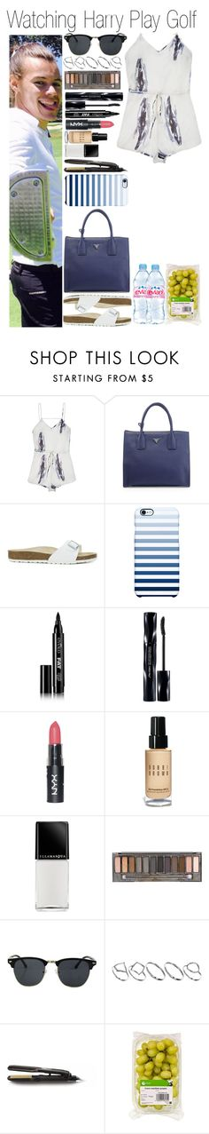 """#Watching Harry Play Golf"" by didi-horan ❤ liked on Polyvore featuring Lonely, Prada, Birkenstock, Uncommon, Eyeko, Shiseido, Bobbi Brown Cosmetics, Illamasqua, Urban Decay and Icon Eyewear"