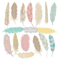 Hand Drawn Feather Aztec Clip Art, Hand Drawn Tribal Feathers ClipArt, Girly, Pink, Teal, Yellow Feather Silhouettes