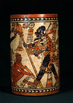 """""""The Chama Vase"""" - Maya Pottery Vessel. The University of Pennsylvania Museum of Archaeology and Anthropology. Mayan History, Maya Civilization, Site Archéologique, Aztec Art, Mesoamerican, Vases, Mexican Art, Ancient Artifacts, Pottery Painting"""