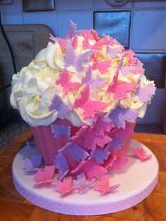Pink and purple girly giant butterfly cupcake by Paula