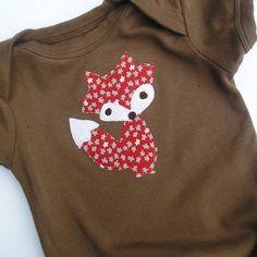 Fox Applique Baby Bodysuit