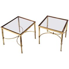 View this item and discover similar for sale at - A pair of square brass low end tables, having fluted legs with double concave stretchers, with smoked glass tops Hawthorne House, Brass Side Table, Low End, Modern End Tables, Concave, Home Living Room, Table Furniture, Pairs, Antique