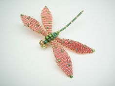 Dragonfly Pin (or Window Jewelry), Green w/ Copper Colored Wings. $36.00, via Etsy. #handmade #dragonfly #jewelry