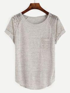 Camiseta con encaje manga raglán - gris