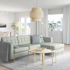 "MORABO Sofa, Gunnared light green, Width: 96 1/8"". Order here! - IKEA Living Room Seating, Living Room Sofa, Landskrona Sofa, Ikea Couch, Best Ikea, Sofa Frame, Cushion Filling, Modular Sofa, Ikea Sofa"