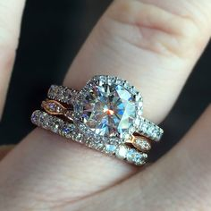 The most gorgeous mixed metal engagement ring and wedding ring stacks