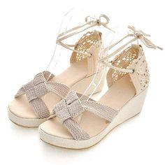 7f7c94f4d41 Femme Braided Crochet High Wedge Heel Peep Toe Sandal Shoes Heels Wedges