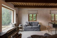 Miramari added a new photo. Roman Blinds, Interior Architecture, Farmhouse, Windows, Patio, Couch, Living Room, Outdoor Decor, Furniture