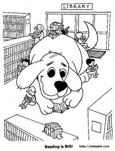 Clifford in Library Clifford the Big Red Dog Coloring Pages--great way to tie in the Rx for Summer Reading and the Summer Campaign Online Coloring Pages, Coloring Book Pages, Printable Coloring Pages, Dog Coloring Page, Free Coloring, Up Book, Book Art, Library Week, Library Rules