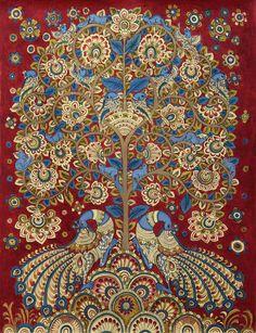 Kalamkari Painting Tree of Life Signed Folk Art 'Celebration II' Novica India Pichwai Paintings, Indian Art Paintings, Mural Painting, Tree Of Life Painting, Tree Of Life Art, Madhubani Art, Madhubani Painting, Traditional Paintings, Traditional Art