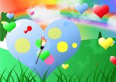 Bunte Herzen fallen von einem blauen Himmel mit weißen Wolken vor der Strahlenden Sonne Regenbogen Fackeln Pro Liebe Pro Frieden Pro Happyness Bunt, Tweety, Fictional Characters, Peace, Rain Bow, Heavens, Sun, Love, Pictures