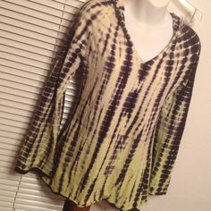 Yellow & Navy Tie-Dye Hoodie From Marita, this knit top is long sleeved with a hoodie!  Yellow dye goes from very light at the top to darker yellow at the bottom.  So soft! Great for casual wear or working out!  Very good condition!  Size Small. Marika Tops Tees - Long Sleeve