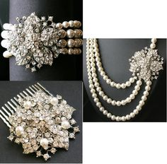 Victorian Style Bridal cuff bracelet, hair comb and necklace