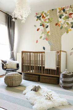 30 Ideen für Kinderzimmergestaltung - kinderzimmer gestalten ideen deko wandsticker baum kronleuchter
