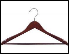 "CHW-52W  17\"" Walnut Wooden Clothing Suit Hangers w/ Pant Bar"
