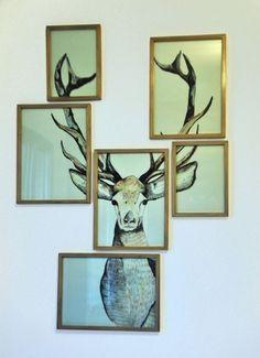 Além do clássico alce de madeira você pode fazer uma montagem de quadros. | 26 formas de revolucionar sua decoração usando prego, cola ou fita