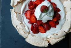 Schaum Torte - This is THE most heavenly way to eat strawberries (or ANY berry)