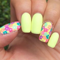 """Matte Neon Floral Dotticure nail art by Amanda """"Sparklicious Nails"""""""