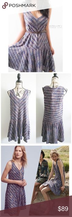 """NWT Anthropologie Maeve Retro Style Knit Dress This dress has a cool retro chic feel it's multicolored chevron knit & oversized drop waist style. The back fits a little longer than the front & a slip is included. Belt not included. {actual color of item may vary slightly from pics}  *chest:19"""" *waist:20.5"""" *length:34""""/38"""" *material/care:62%acrylic38%polyester/hand wash  *fit:oversized do could work for larger size  *condition:new with tag/no damage or wear   20% off bundles of 3/more items…"""