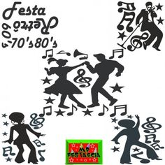 Painel Decorativo Grande Adesivo Festa Retrô Anos 60 70 e 80, Cantor, Casal Dançando, Dançarina e Dançarino Black - 50x70 Escolha o Modelo - MP FESTA E CIA